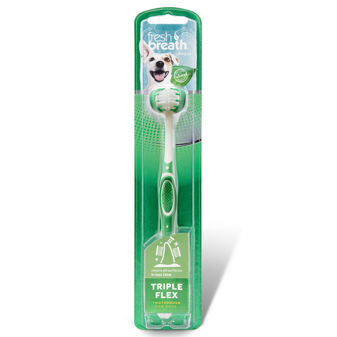 click here to shop Fresh Breath By TropiClean TripleFlex Dog Toothbrush