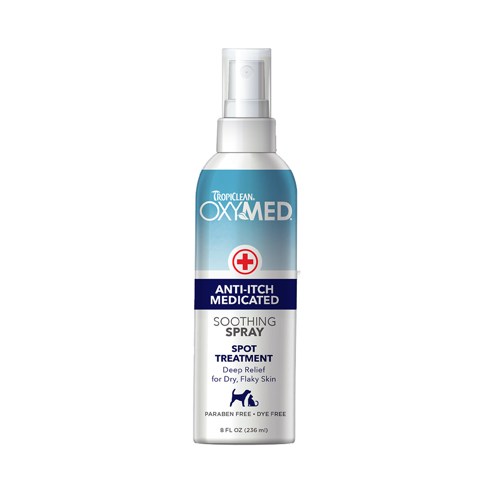 click here to shop TropiClean OxyMed Medicated Anti itch Spray for Pets