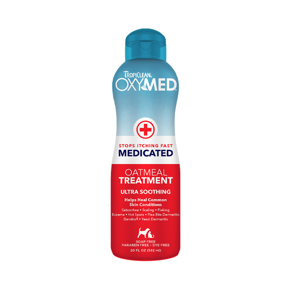 click here to shop TropiClean OxyMed Medicated Anti Itch Treatment Rinse for Pets
