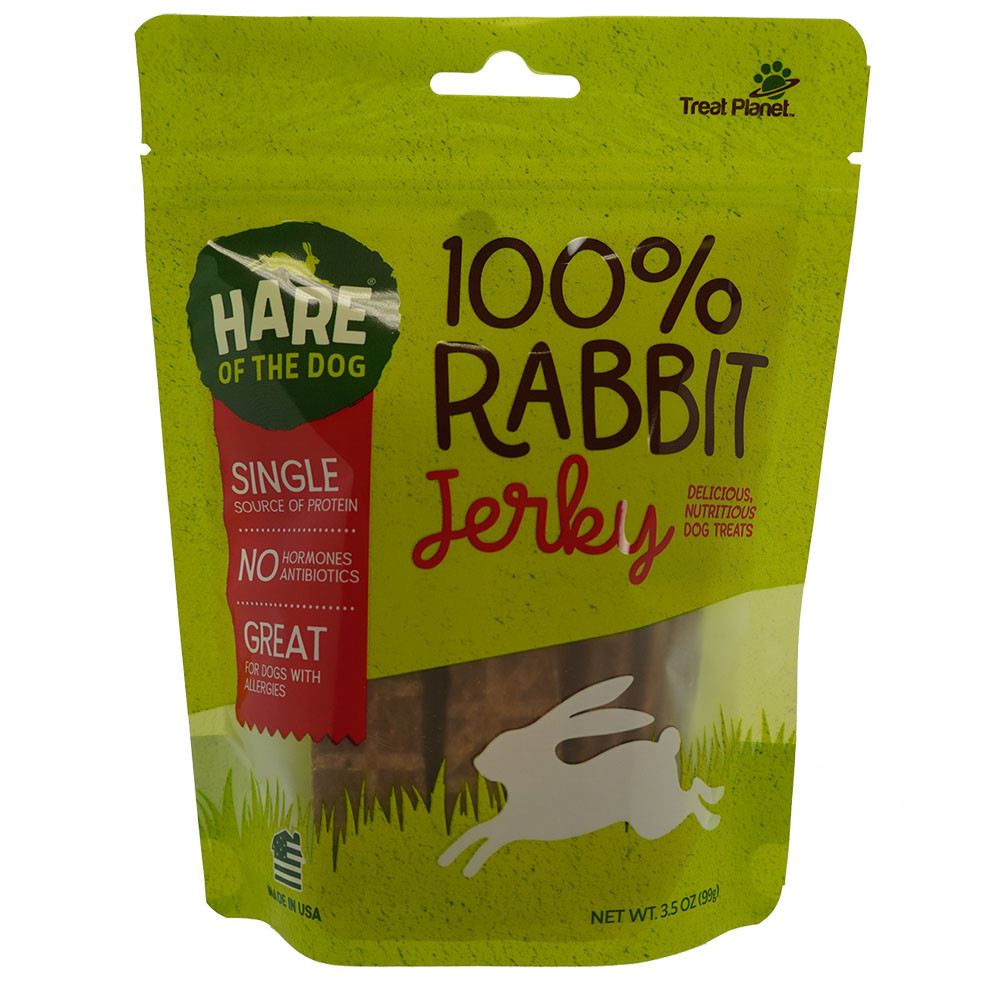 click here to shop Hare of the Dog 100% Rabbit Jerky Dog Treats