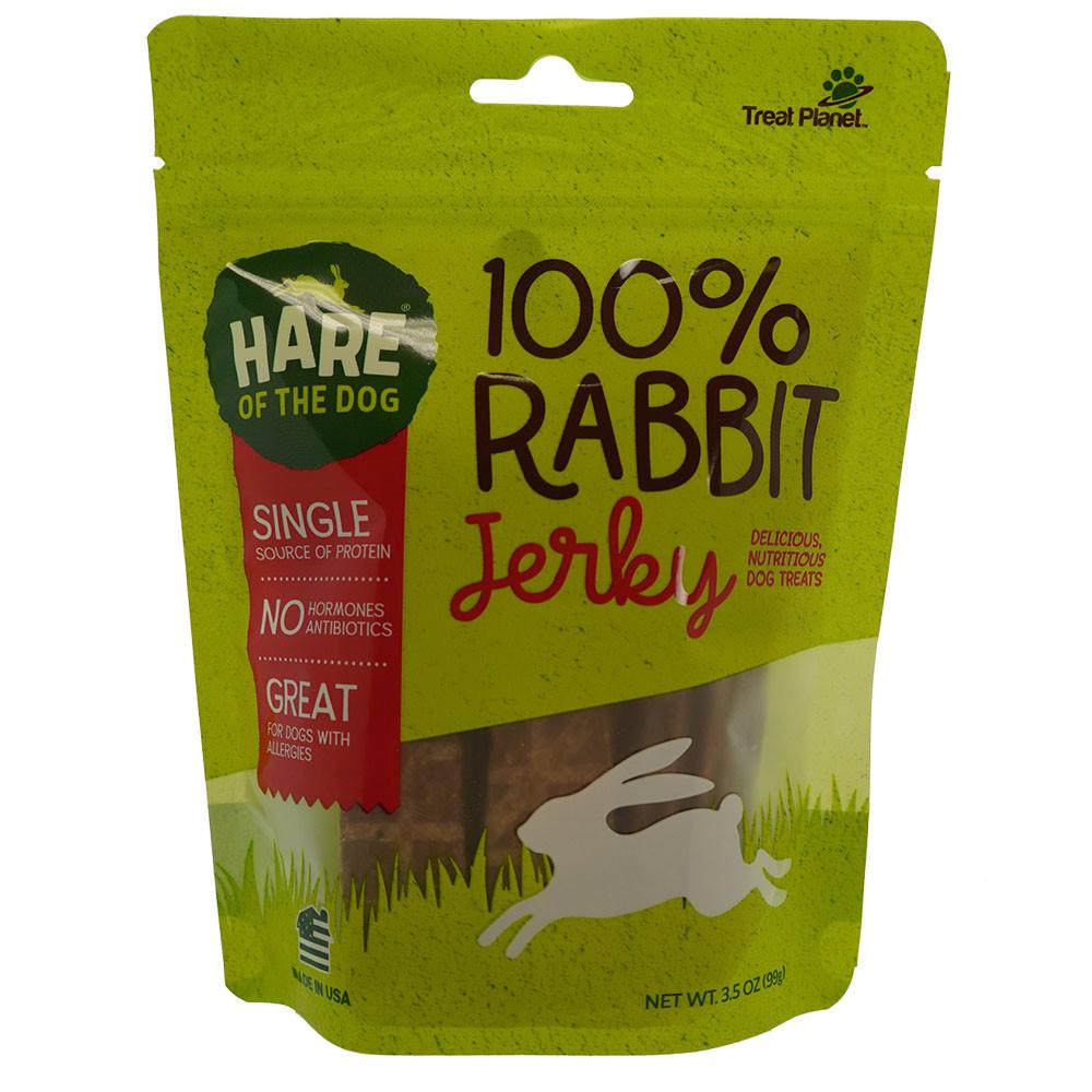 click here to shop Hare of the Dog 100% Rabbit Jerky Dog Treats