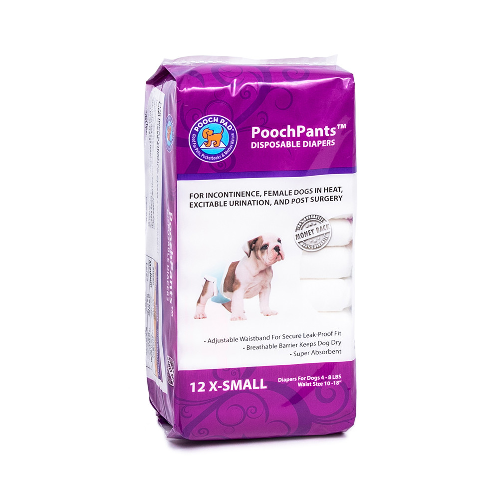 click here to shop PoochPants Disposable Absorbent Dog Diapers
