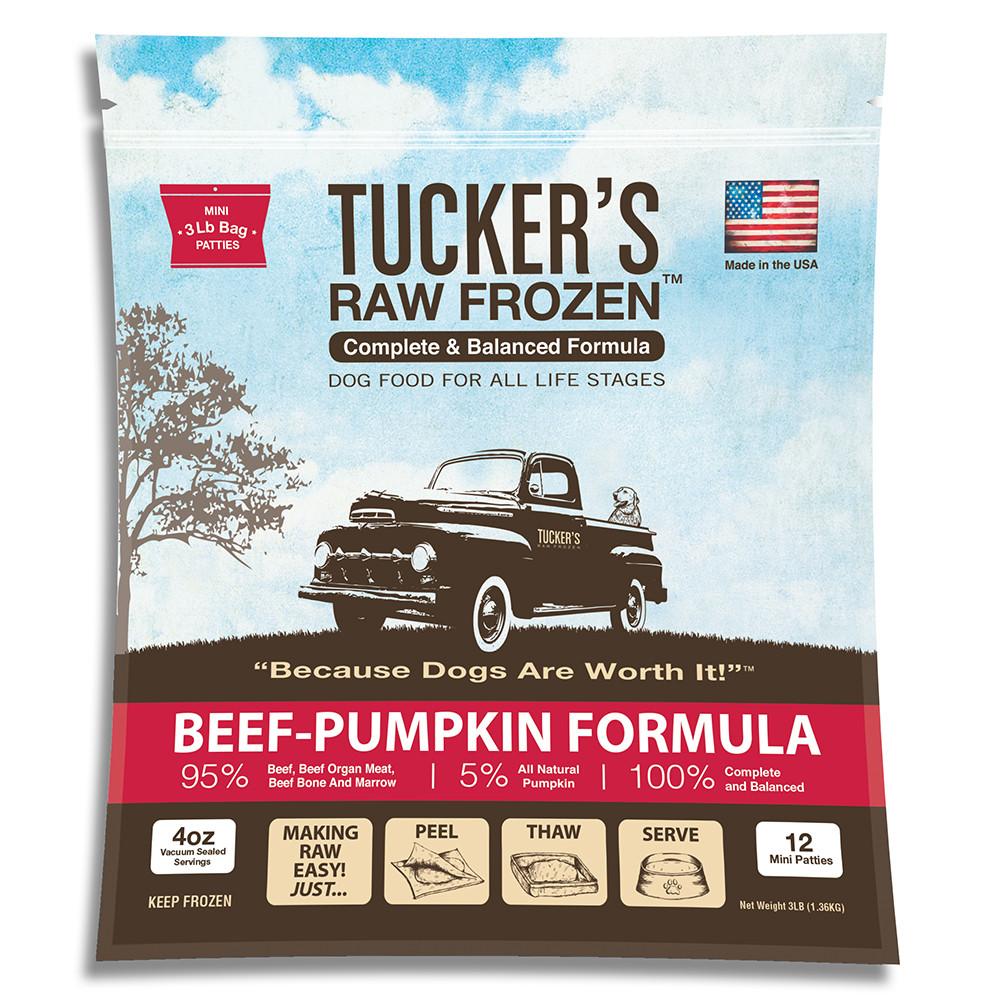 click here to shop Tucker's Raw Frozen Beef-Pumpkin Recipe Dog Food.