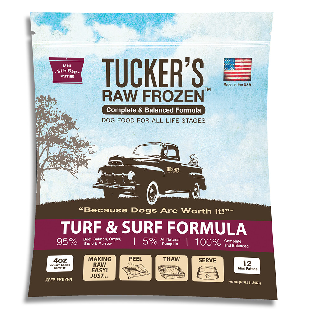 click here to shop Tucker's Raw Frozen Turf & Surf Recipe Dog Food