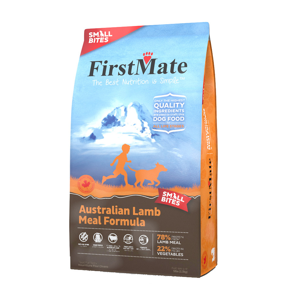 click here to shop FirstMate Australian Lamb Meal Formula Small Bites Dry Dog Food