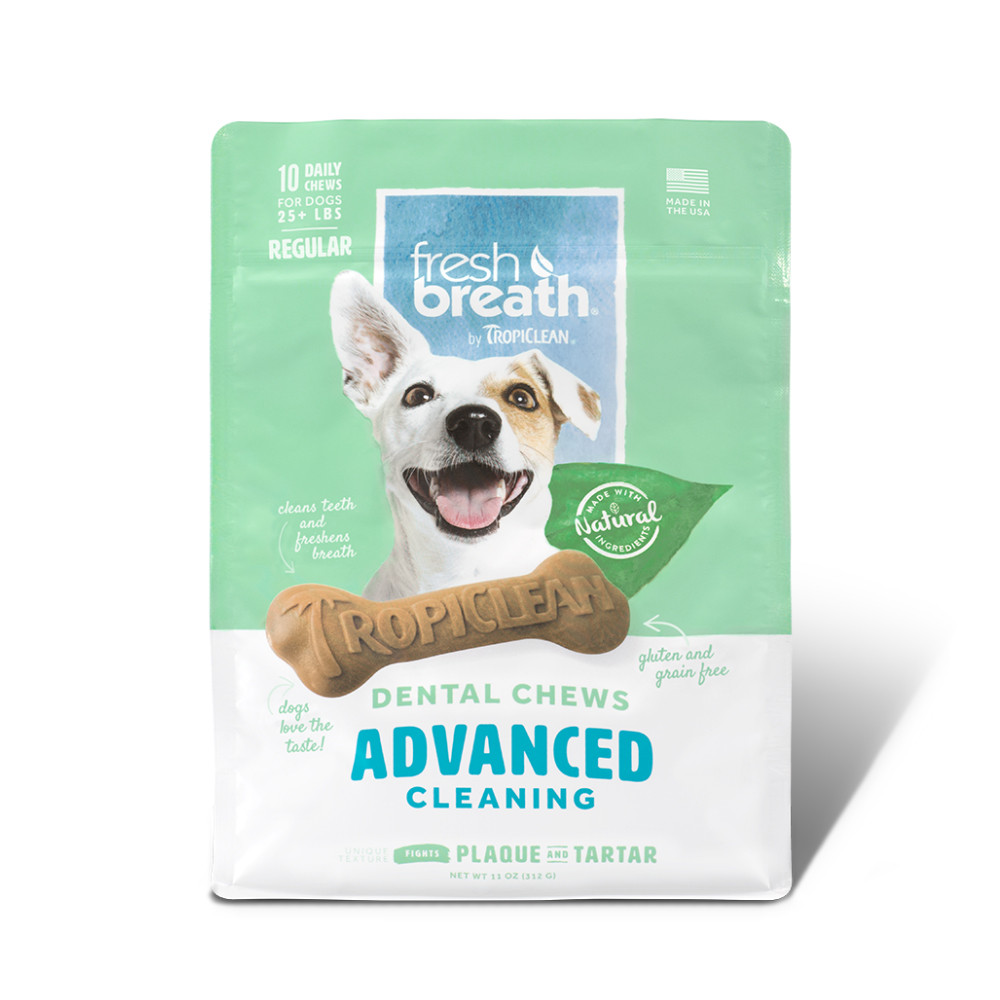 click here to shop Fresh Breath By TropiClean Advanced Cleaning Dog Dental Chews