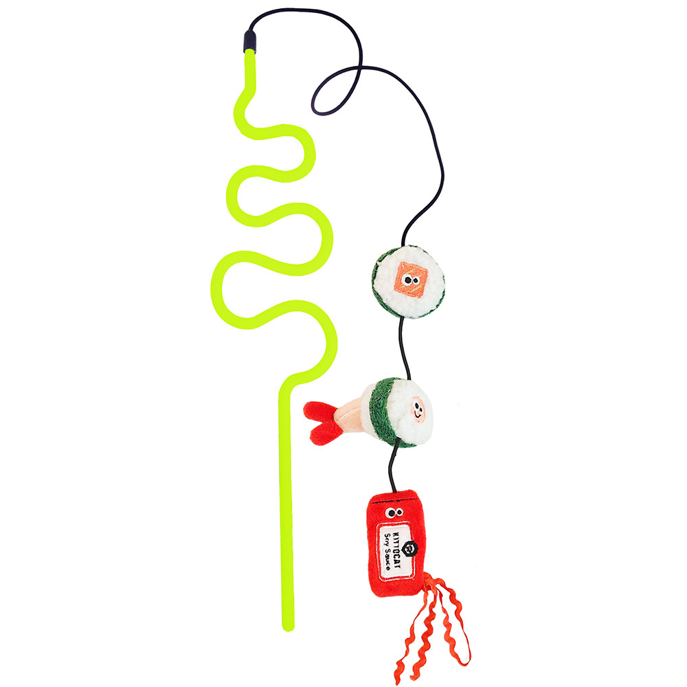 click here to shop Mad Cat Sushi Swatter Wand Catnip & Silvervine Cat Toy