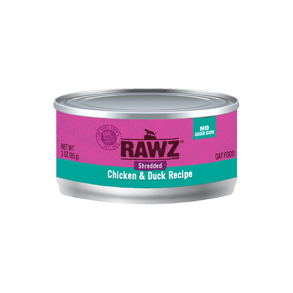 click here to shop RAWZ Shredded Chicken & Duck Recipe Adult Canned Cat Food