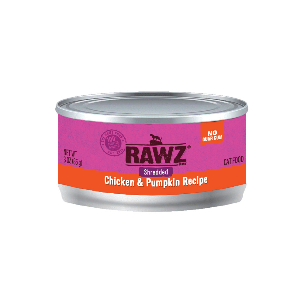 click here to shop RAWZ Shredded Chicken & Pumpkin Recipe Adult Canned Cat Food.
