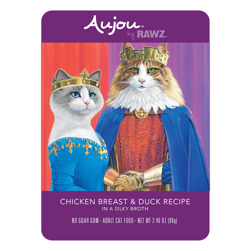 click here to shop RAWZ Aujou Chicken Breast & Duck Recipe Cat Food Pouch.