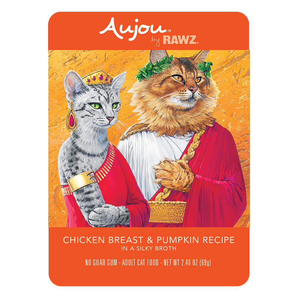 click here to shop RAWZ Aujou Chicken Breast & Pumpkin Recipe Cat Food Pouch