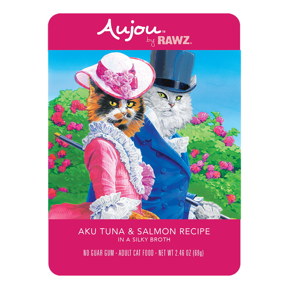 click here to shop RAWZ Aujou Aku Tuna & Salmon Recipe Cat Food Pouch.