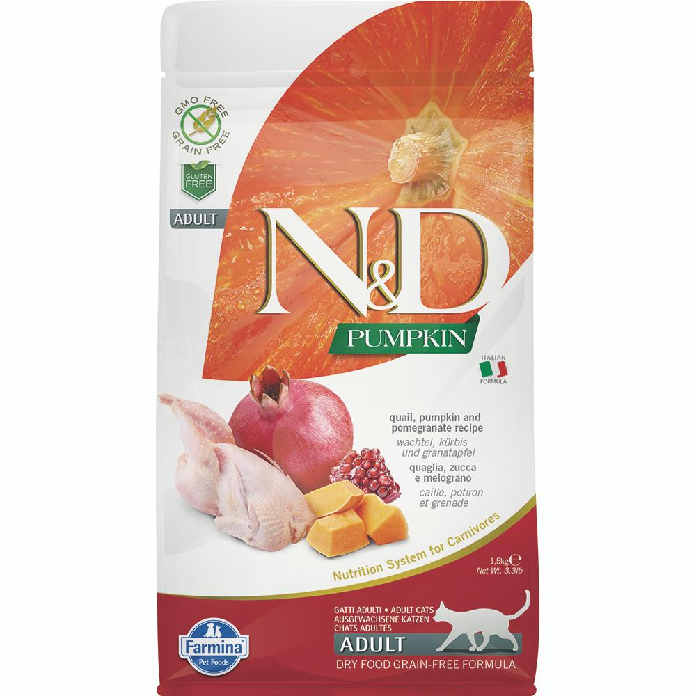 click here to shop Farmina N&D Pumpkin Quail, Pumpkin and Pomegranate Recipe Adult Dry Cat Food