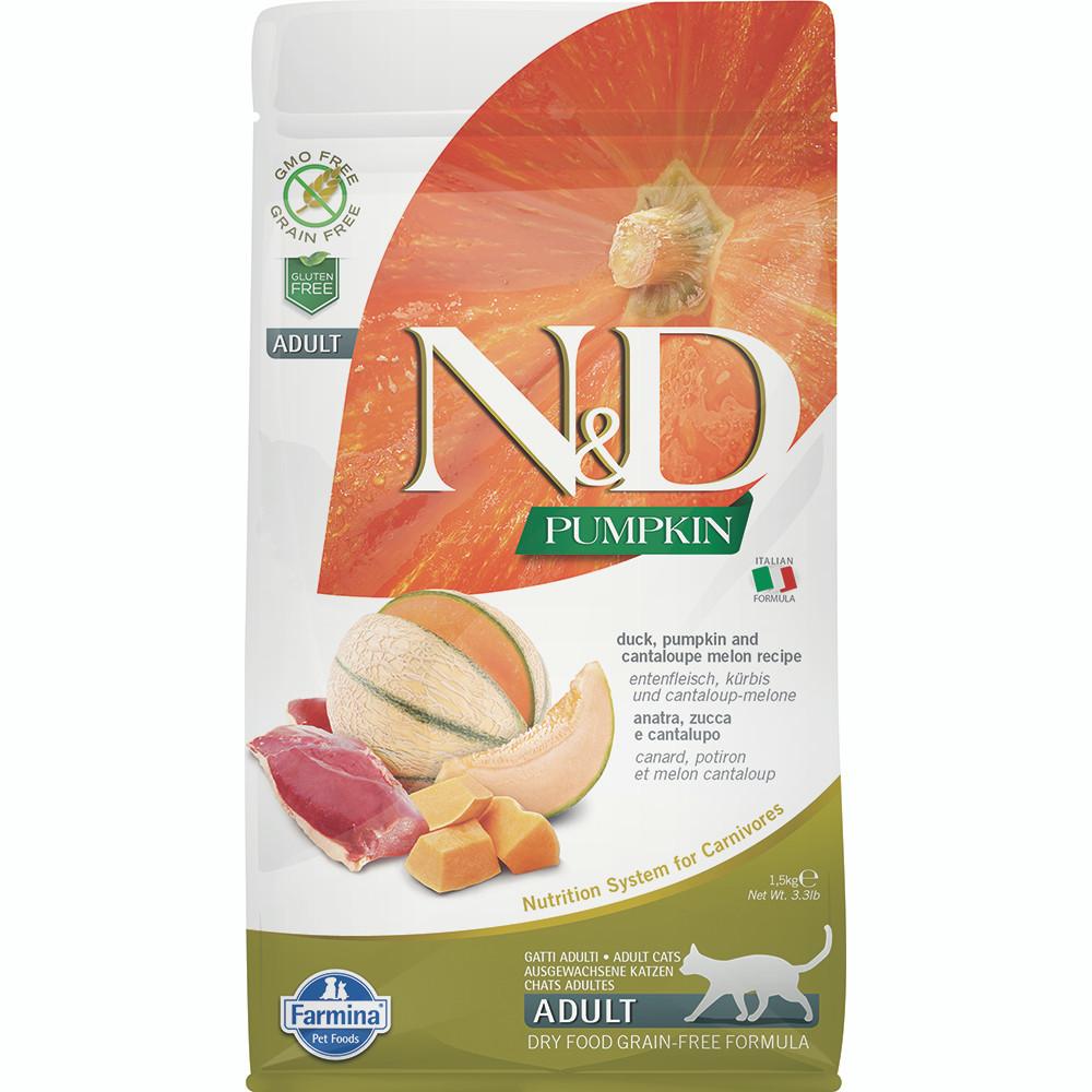 click here to shop Farmina N&D Pumpkin Duck, Pumpkin and Cantaloupe Melon Recipe Adult Dry Cat Food