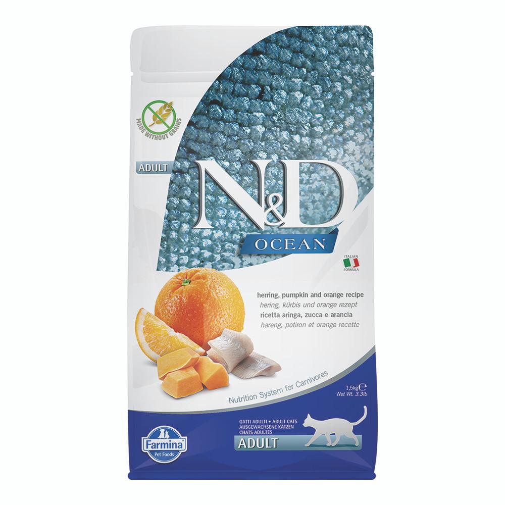 click here to shop Farmina N&D Ocean Herring, Pumpkin & Orange Adult Dry Cat Food
