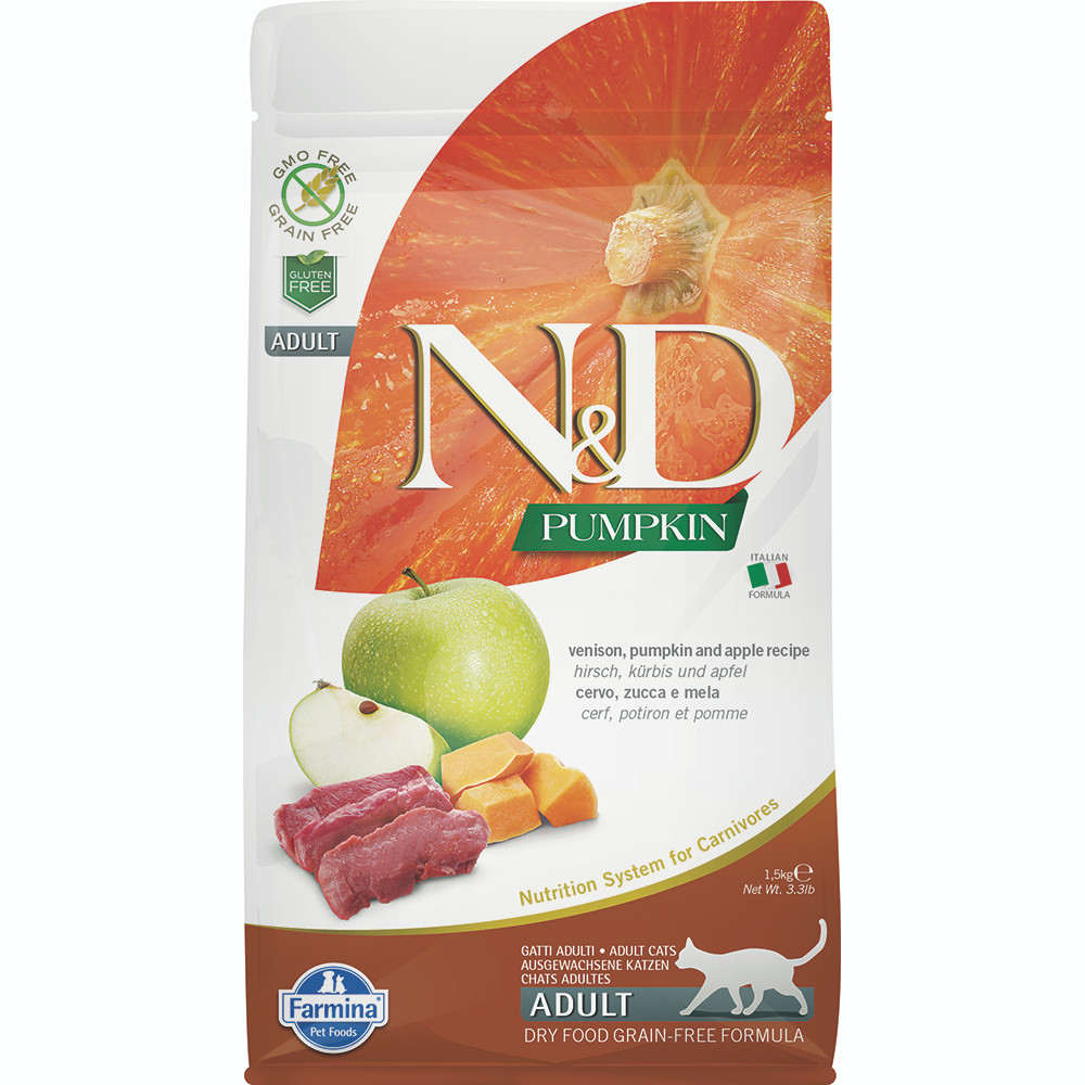 click here to shop Farmina N&D Pumpkin Venison, Pumpkin & Apple Adult Dry Cat Food