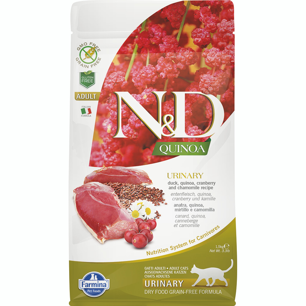 click here to shop Farmina N&D Quinoa Urinary Duck Adult Dry Cat Food