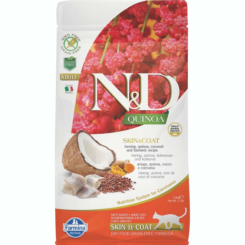 click here to shop Farmina N&D Quinoa Skin & Coat Herring, Quinoa, Coconut & Turmeric Adult Dry Cat Food