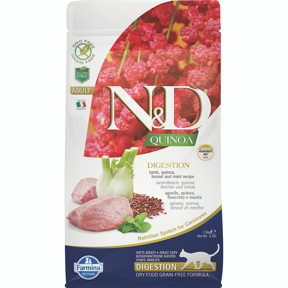 click here to shop Farmina N&D Quinoa Digestion Lamb, Quinoa, Fennel & Mint Dry Cat Food