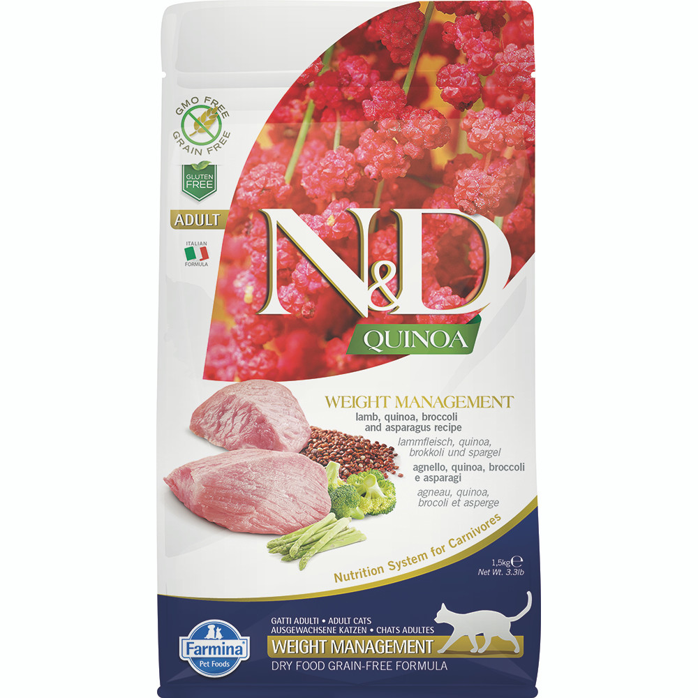 click here to shop Farmina N&D Quinoa Weight Management Lamb, Quinoa, Broccoli & Asparagus Adult Dry Cat Food