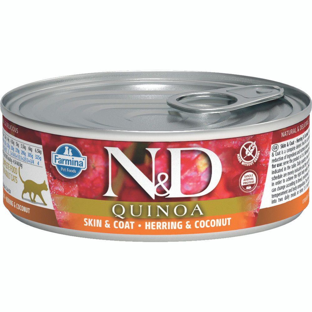 click here to shop Farmina N&D Quinoa Skin & Coat Herring & Coconut Adult Canned Cat Food