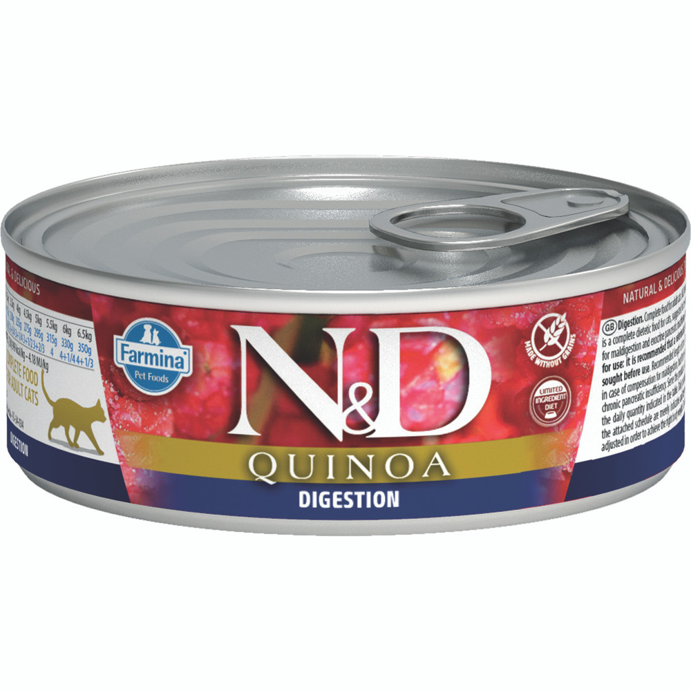 click here to shop Farmina N&D Quinoa Digestion Adult Canned Cat Food.