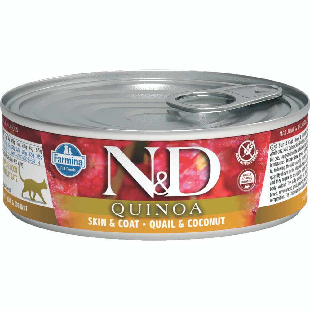 click here to shop Farmina N&D Quinoa Skin & Coat Quail & Coconut Adult Canned Cat Food