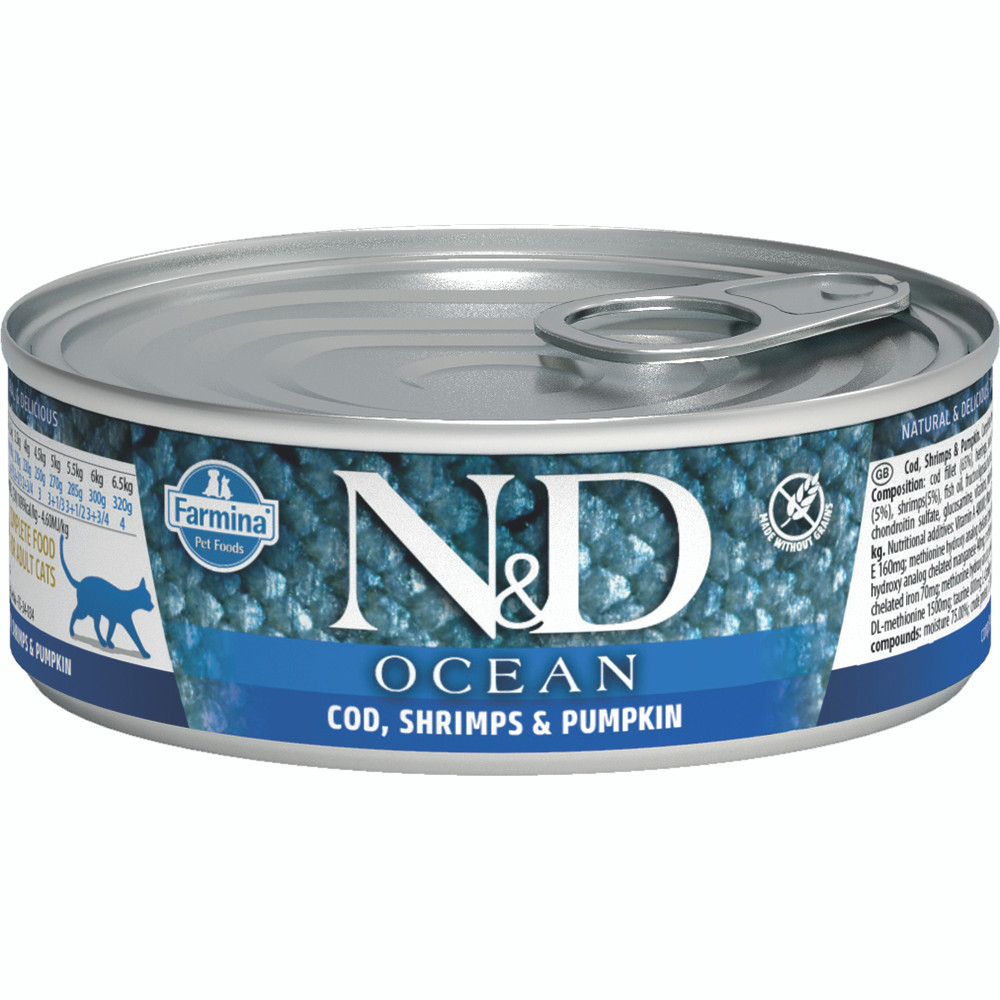 click here to shop Farmina N&D Ocean Cod, Shrimp & Pumpkin Adult Canned Cat Food.