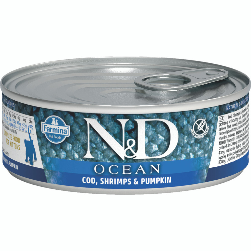 click here to shop Farmina N&D Ocean Cod, Shrimp & Pumpkin Kitten Canned Cat Food