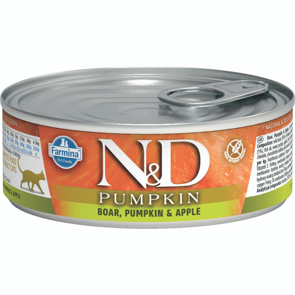 click here to shop Farmina N&D Pumpkin Boar, Pumpkin & Apple  Adult Canned Cat Food