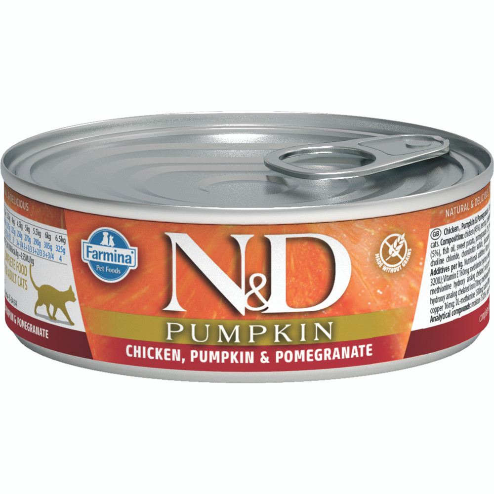 click here to shop Farmina N&D Pumpkin Chicken, Pumpkin & Pomegranate Adult Canned Cat Food