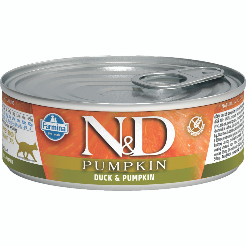 click here to shop Farmina N&D Pumpkin Duck & Pumpkin Adult Canned Cat Food