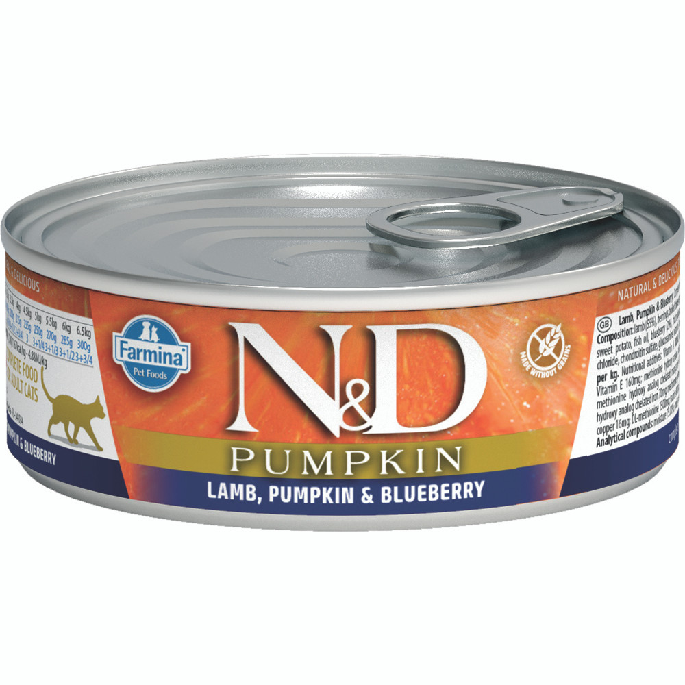 click here to shop Farmina N&D Pumpkin Lamb, Pumpkin & Blueberry Adult Canned Cat Food