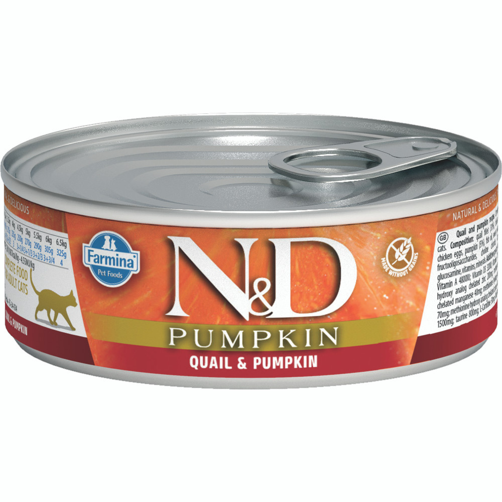 click here to shop Farmina N&D Pumpkin Quail & Pumpkin Adult Canned Cat Food