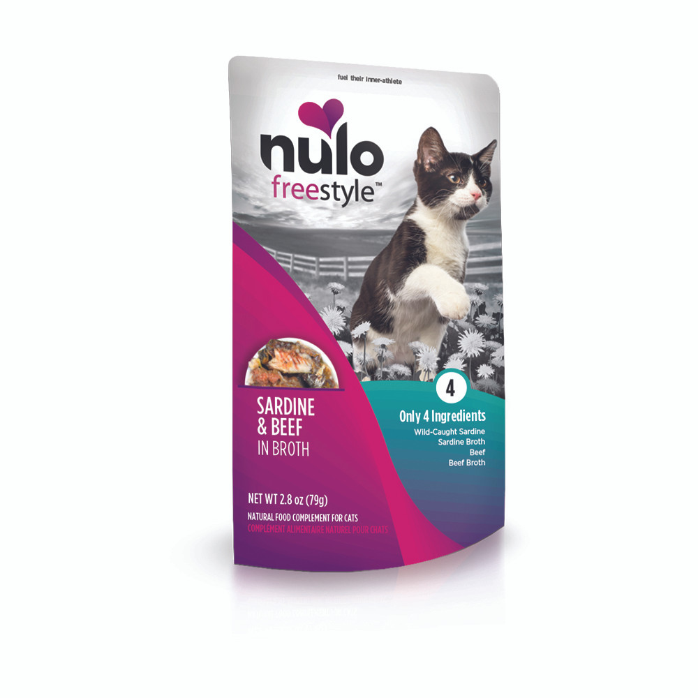 click here to shop Nulo Freestyle Sardine & Beef in Broth Cat Food Pouch