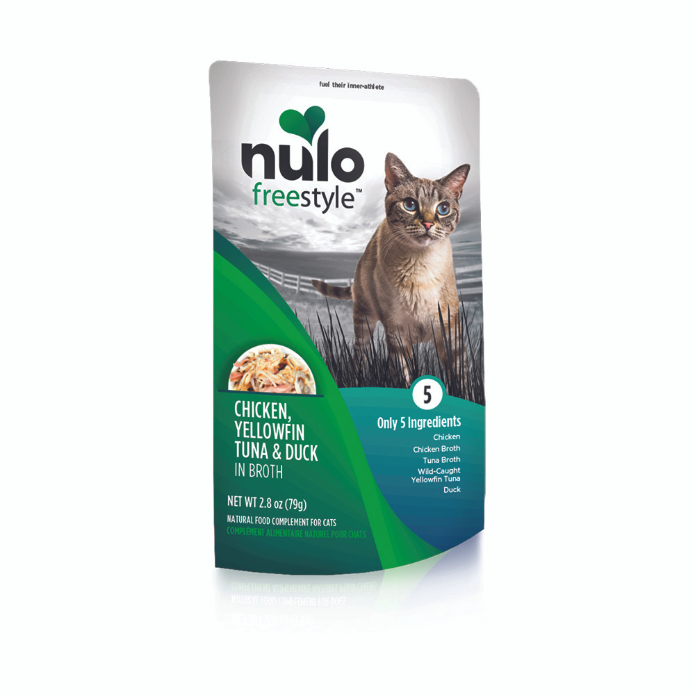 click here to shop Nulo Freestyle Chicken, Yellowfin Tuna & Duck in Broth Cat Food Pouch