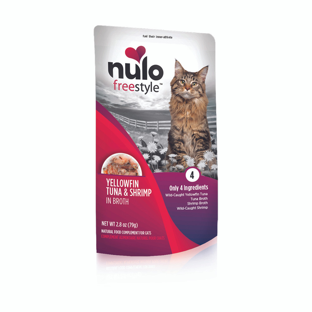 click here to shop Nulo Freestyle Yellowfin Tuna & Shrimp in Broth Cat Food Pouch