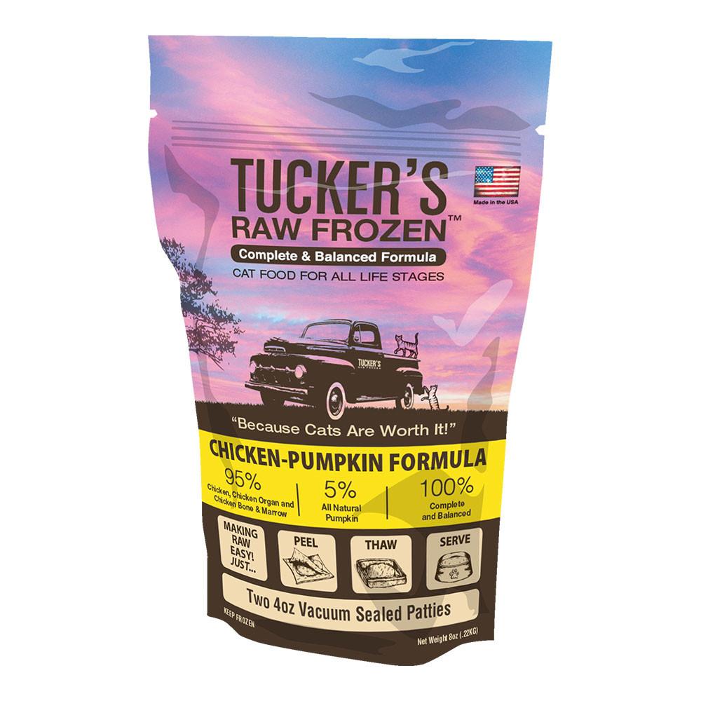 click here to shop Tucker's Raw Frozen Chicken-Pumpkin Diet Cat Food.