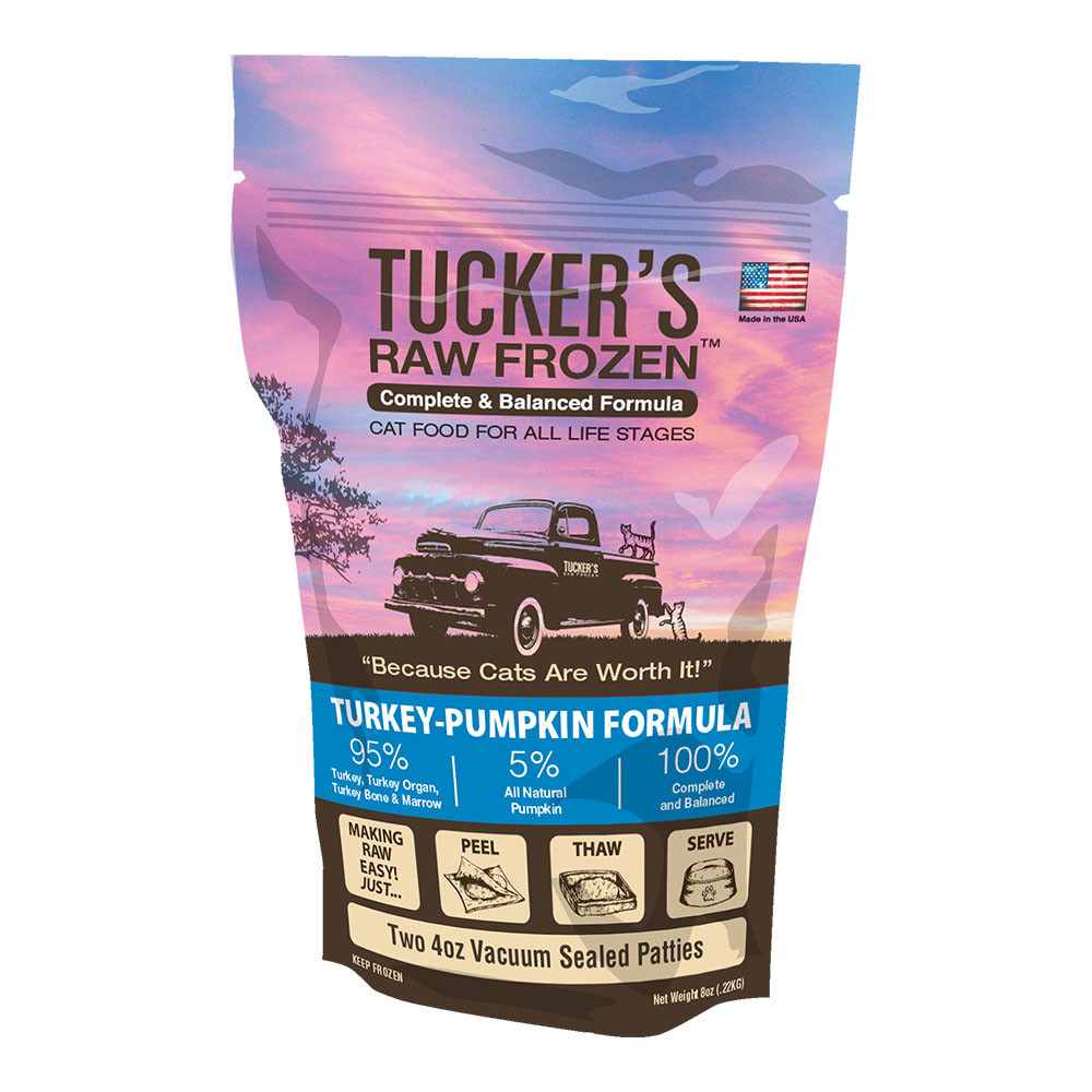 click here to shop Tucker's Raw Frozen Turkey-Pumpkin Diet Cat Food