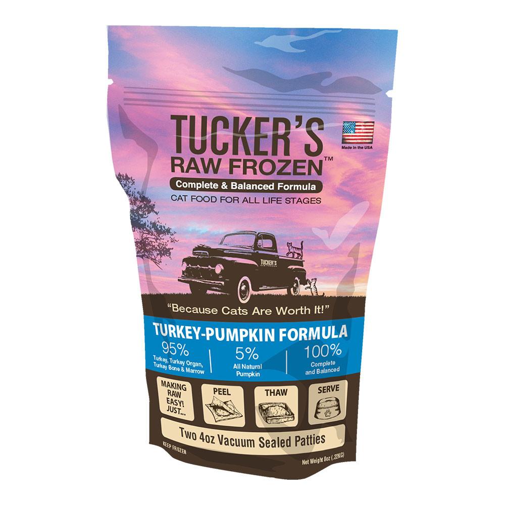 click here to shop Tucker's Raw Frozen Turkey-Pumpkin Diet Cat Food
