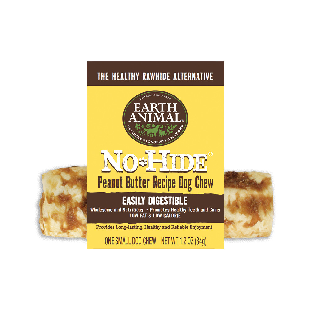 click here to shop Earth Animal No-Hide Peanut Butter Dog Chew Treat
