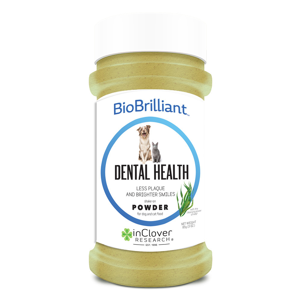 click here to shop InClover BioBrilliant Dental Health Shake-On Powder for Dog & Cat Food.
