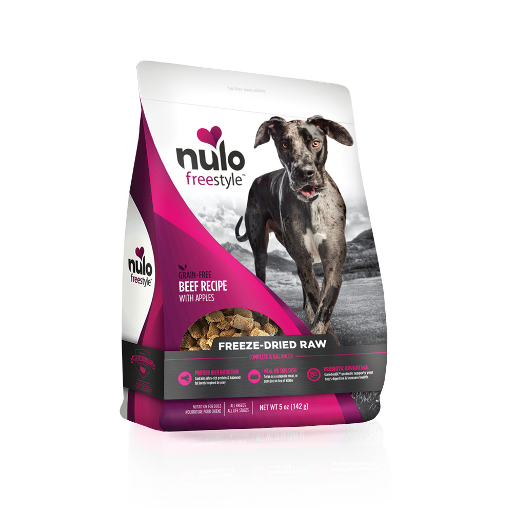 click here to shop Nulo Freestyle Freeze-Dried Raw Beef Recipe with Apples Dog Food