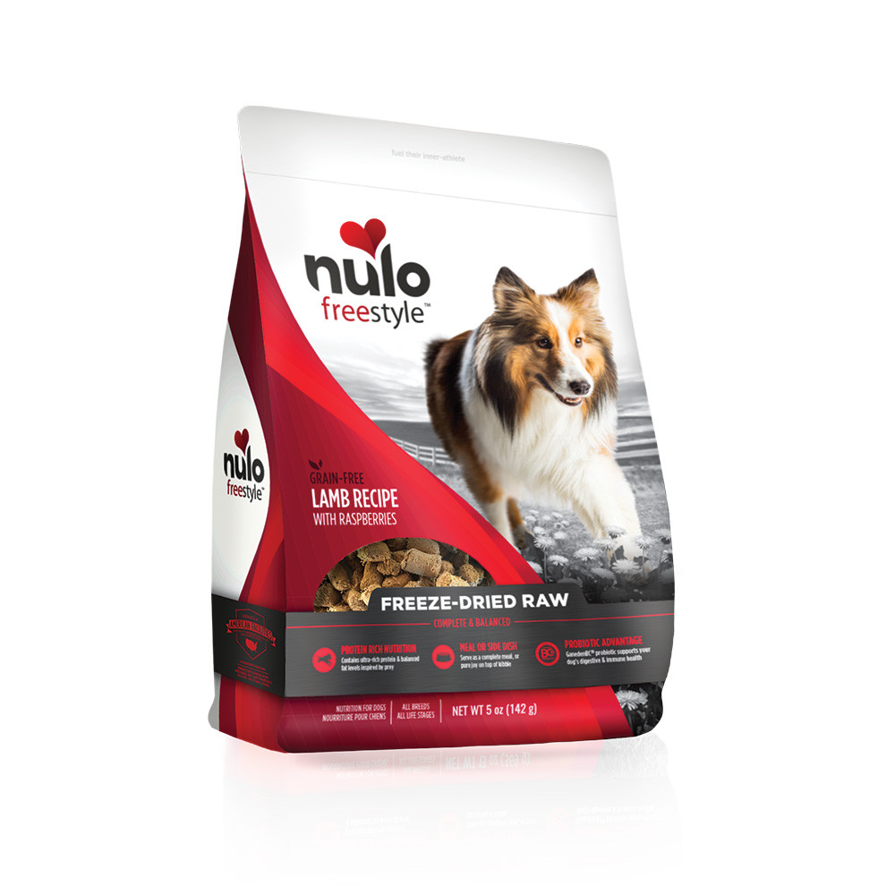 click here to shop Nulo Freestyle Freeze-Dried Raw Lamb Recipe with Raspberries Dog Food.