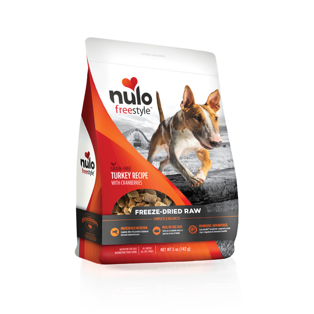 click here to shop Nulo Freestyle Freeze-Dried Raw Turkey Recipe with Cranberries Dog Food