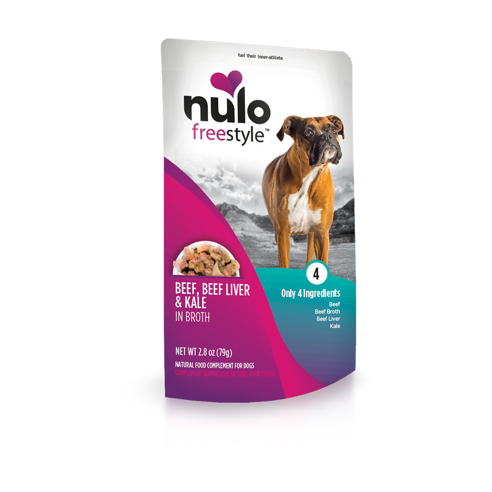 click here to shop Nulo Freestyle Puppy & Adult Beef, Beef Liver & Kale in Broth Recipe Dog Food Pouch
