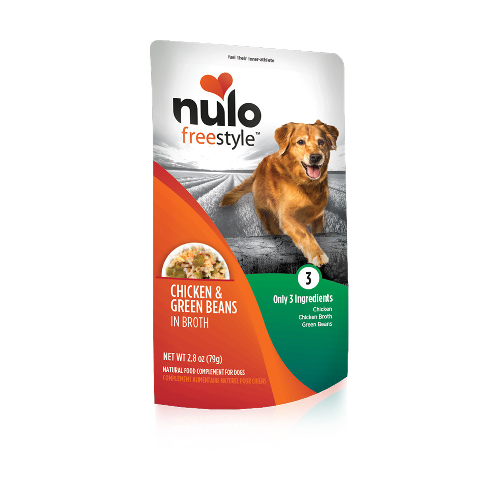 click here to shop Nulo Freestyle Puppy & Adult Chicken & Green Beans Recipe Dog Food Pouch