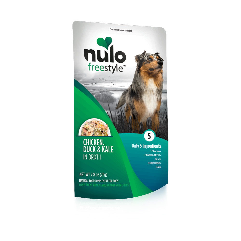 click here to shop Nulo Freestyle Puppy & Adult Chicken, Duck & Kale Recipe Dog Food Pouch