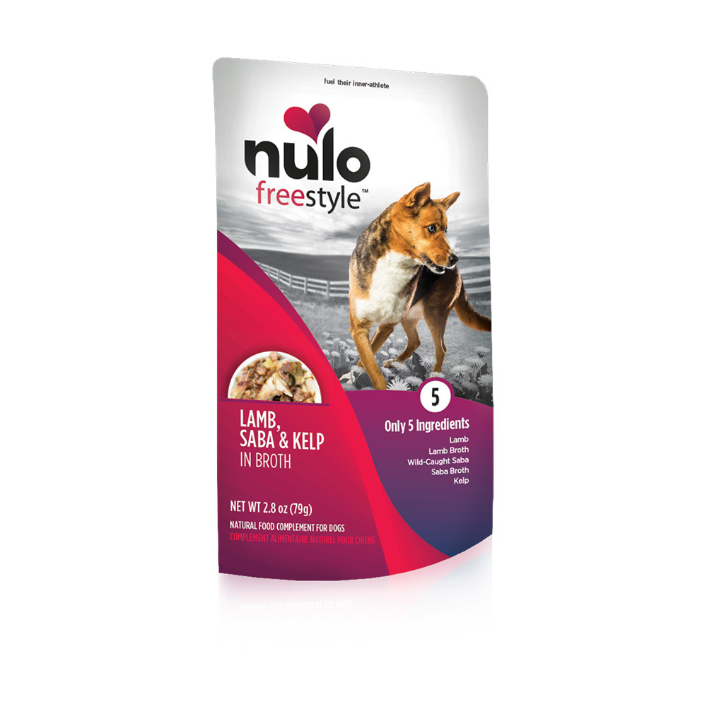 click here to shop Nulo Freestyle Puppy & Adult Lamb, Saba & Kelp Recipe Dog Food Pouch