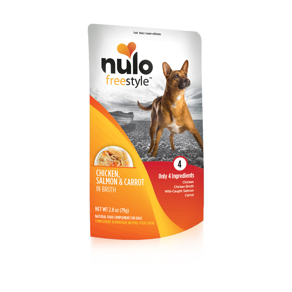 click here to shop Nulo Freestyle Puppy & Adult Chicken, Salmon & Carrot Recipe Dog Food Pouch